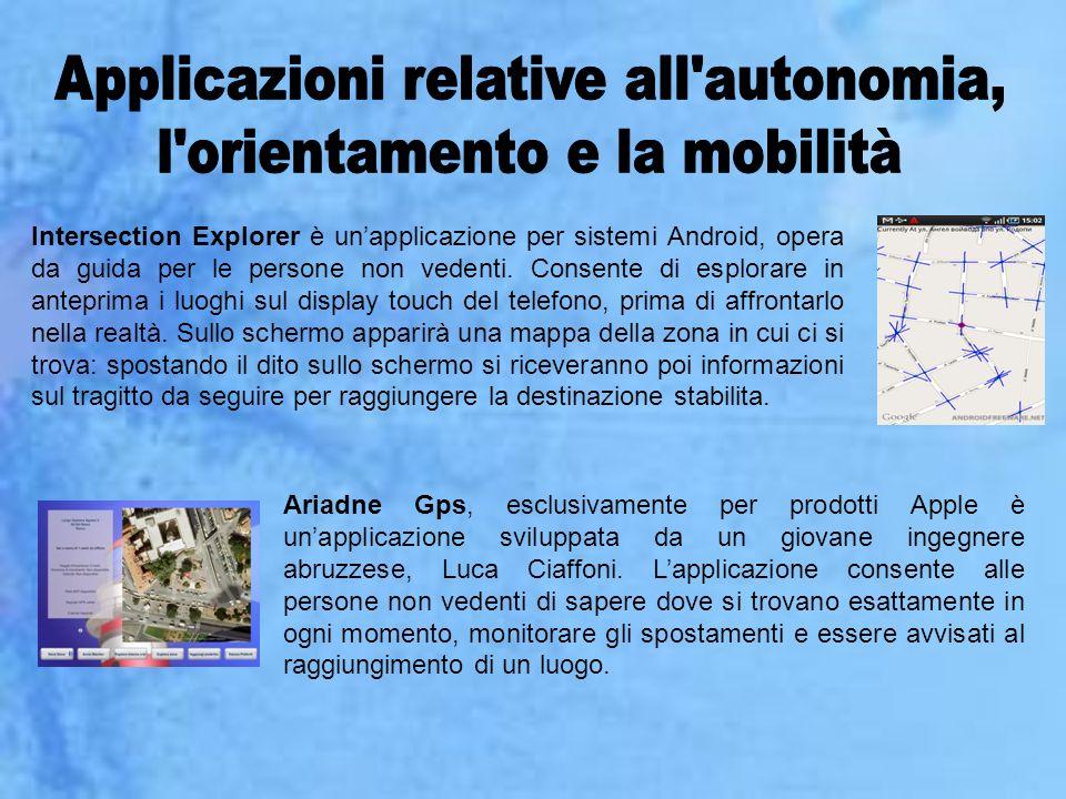 Applicazioni relative all autonomia, l orientamento e la mobilità