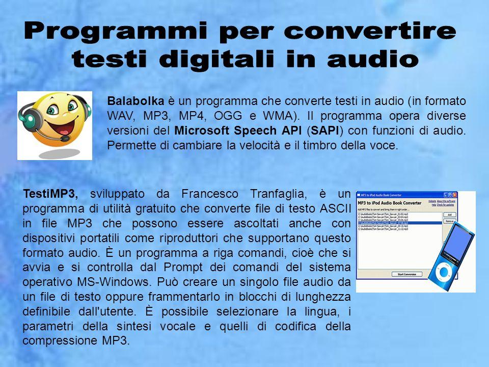 Programmi per convertire testi digitali in audio
