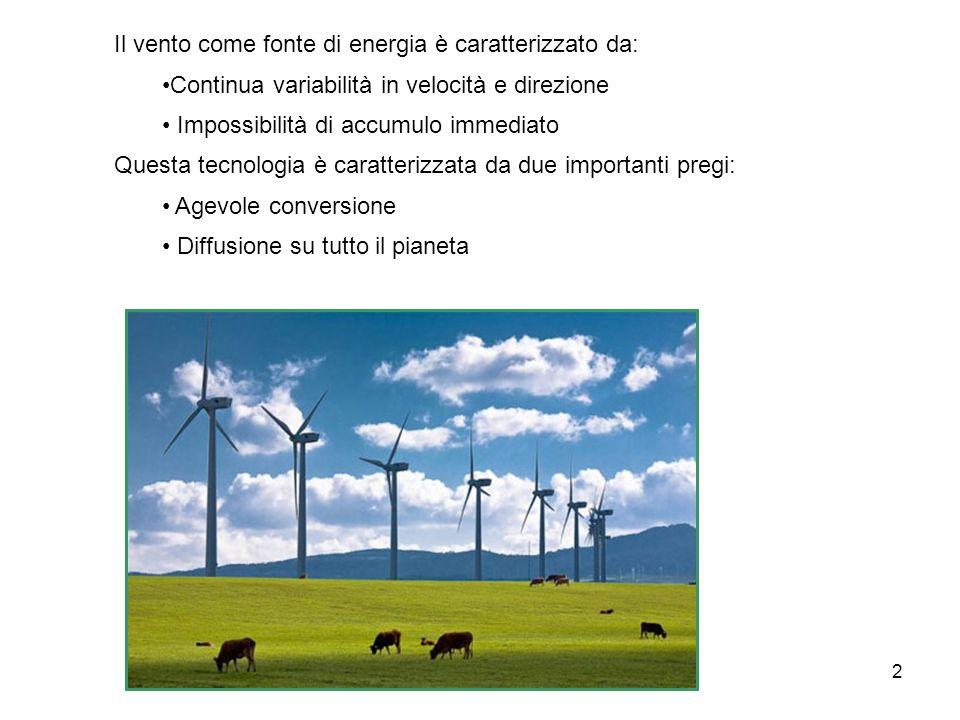 Il vento come fonte di energia è caratterizzato da: