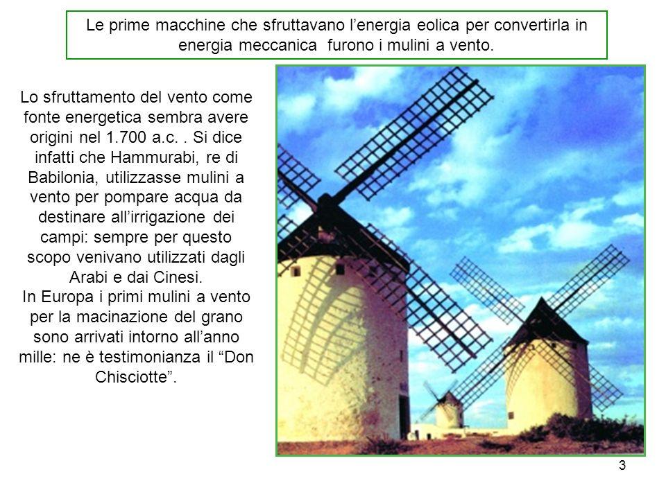 Le prime macchine che sfruttavano l'energia eolica per convertirla in energia meccanica furono i mulini a vento.