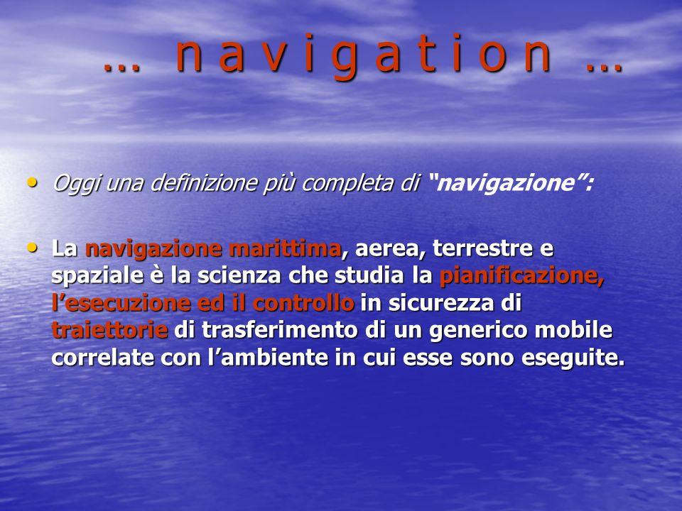 … n a v i g a t i o n … Oggi una definizione più completa di navigazione :