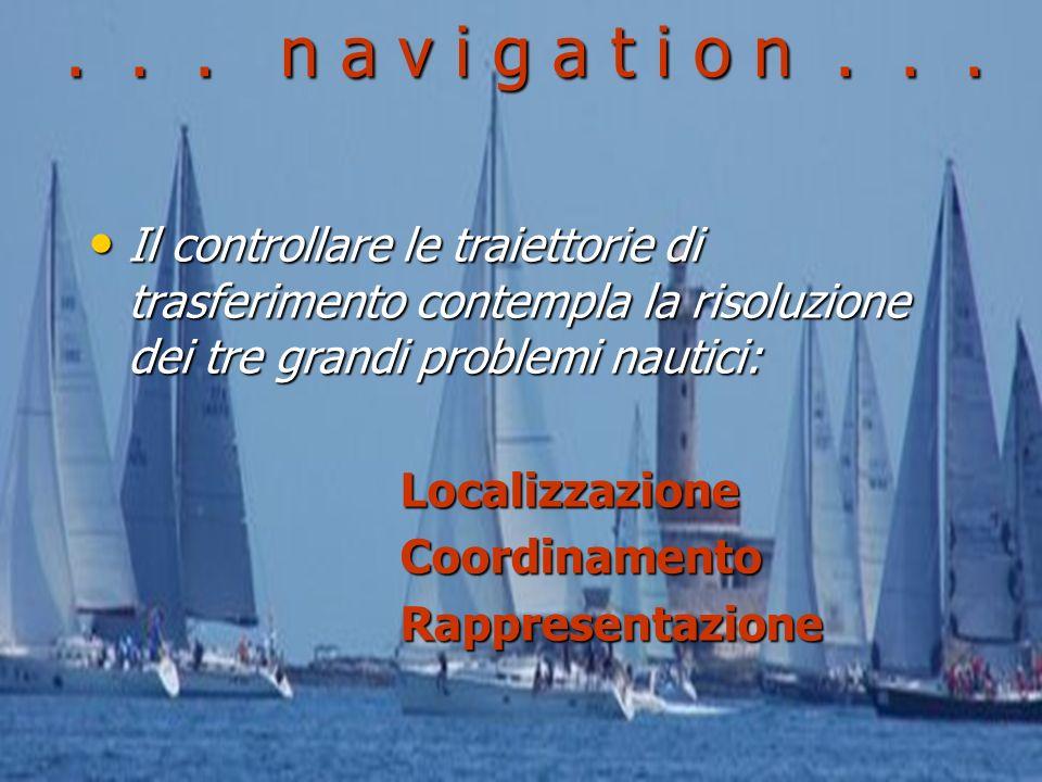 . . . n a v i g a t i o n . . . Il controllare le traiettorie di trasferimento contempla la risoluzione dei tre grandi problemi nautici: