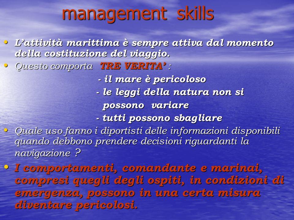 management skills L'attività marittima è sempre attiva dal momento della costituzione del viaggio.