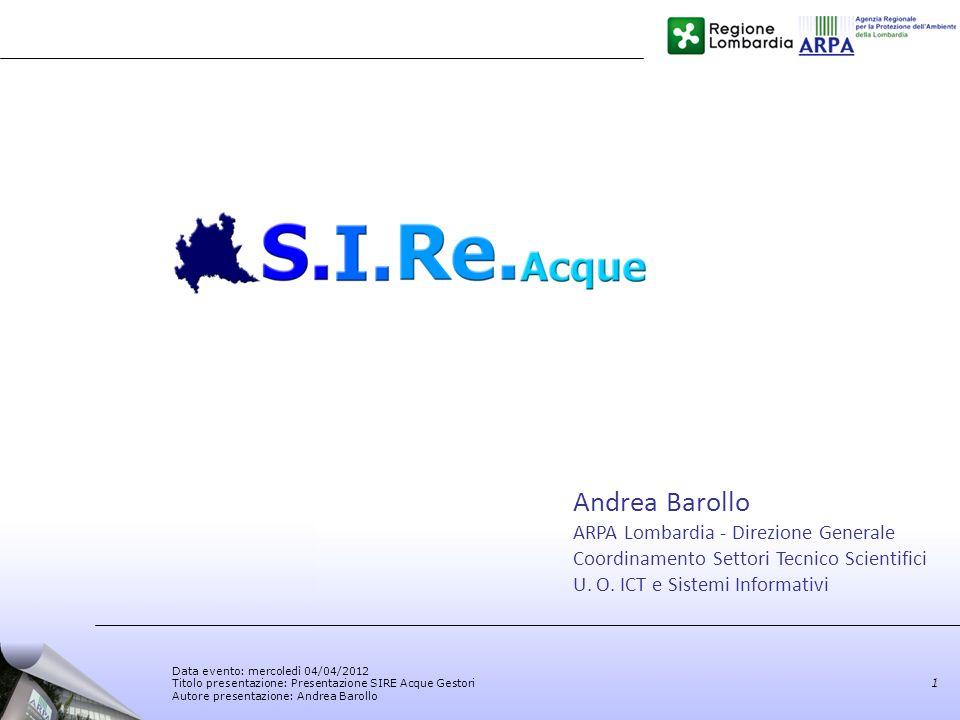 Andrea Barollo ARPA Lombardia - Direzione Generale