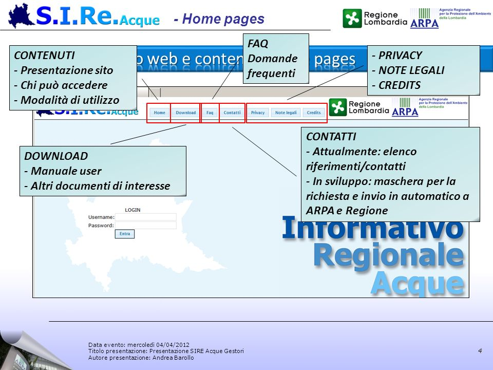 Sito web e contenuti home pages