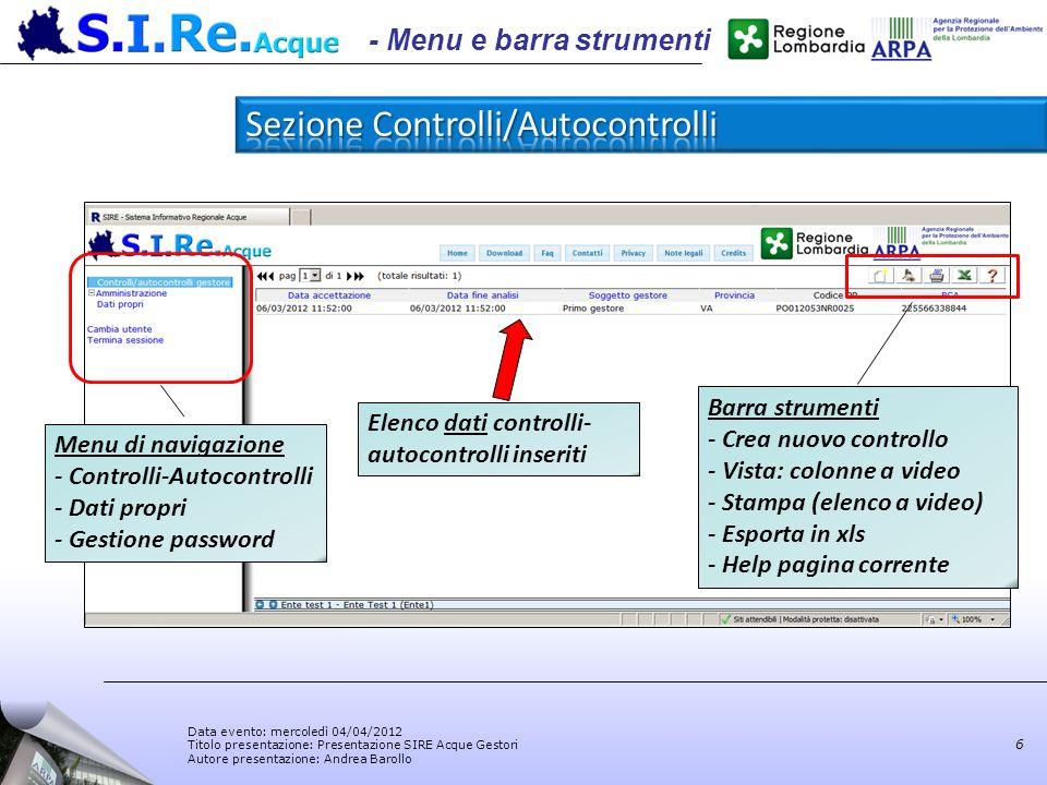 Sezione Controlli/Autocontrolli