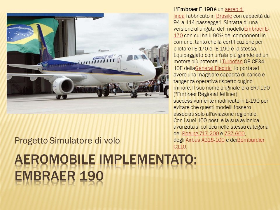 Aeromobile implementato: embraer 190
