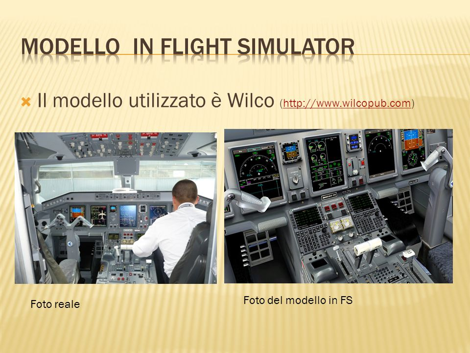Modello in flight simulator