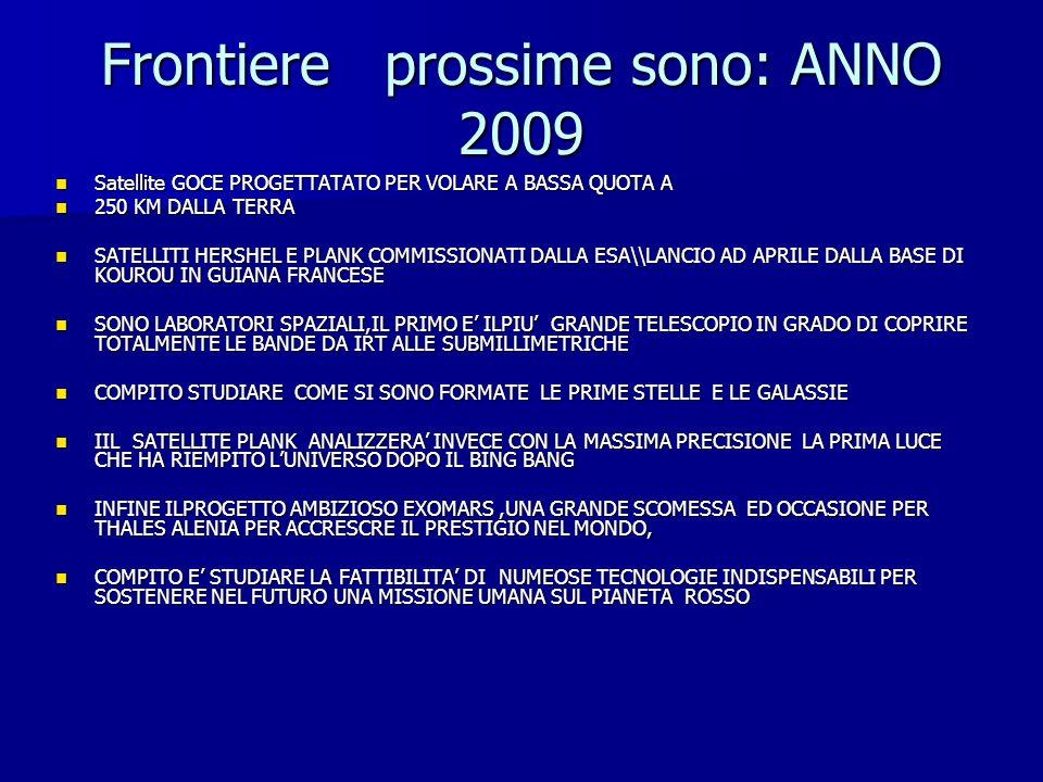Frontiere prossime sono: ANNO 2009