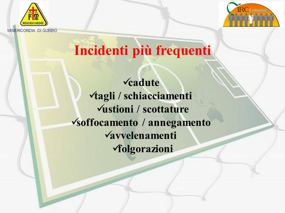Incidenti più frequenti