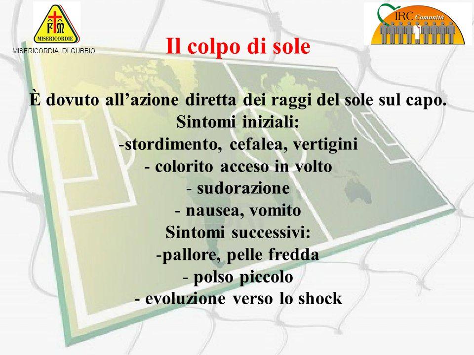 Il colpo di sole È dovuto all'azione diretta dei raggi del sole sul capo. Sintomi iniziali: stordimento, cefalea, vertigini.