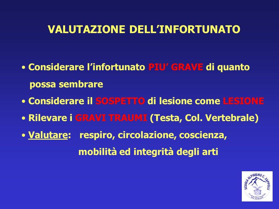 VALUTAZIONE DELL'INFORTUNATO