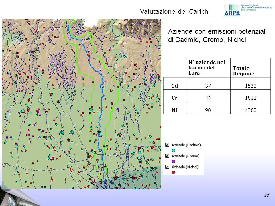 Aziende con emissioni potenziali di Cadmio, Cromo, Nichel