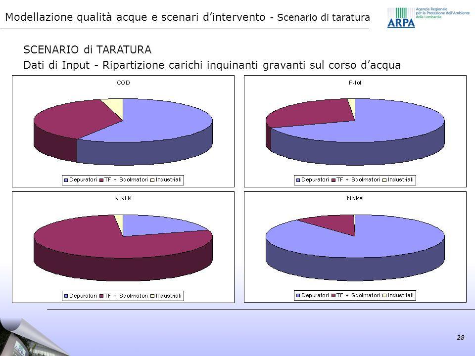 martedì 22 settembre 2009 Modellazione qualità acque e scenari d'intervento - Scenario di taratura.