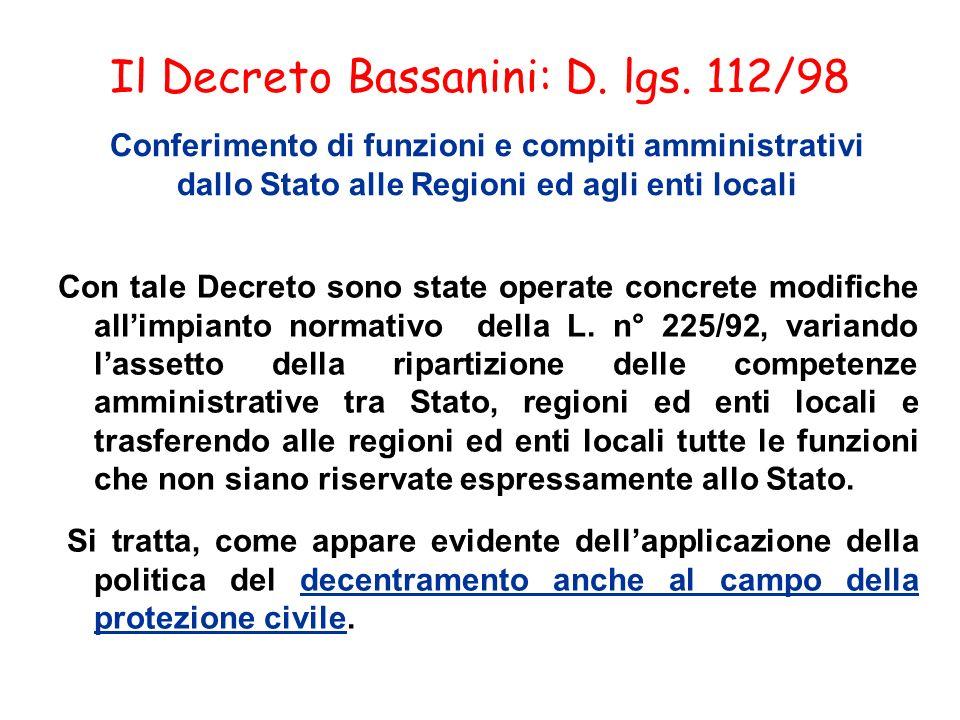 Il Decreto Bassanini: D. lgs. 112/98