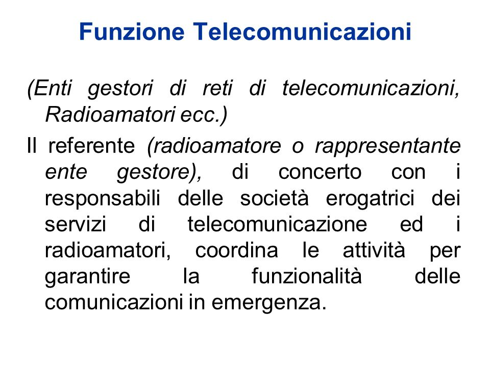 Funzione Telecomunicazioni