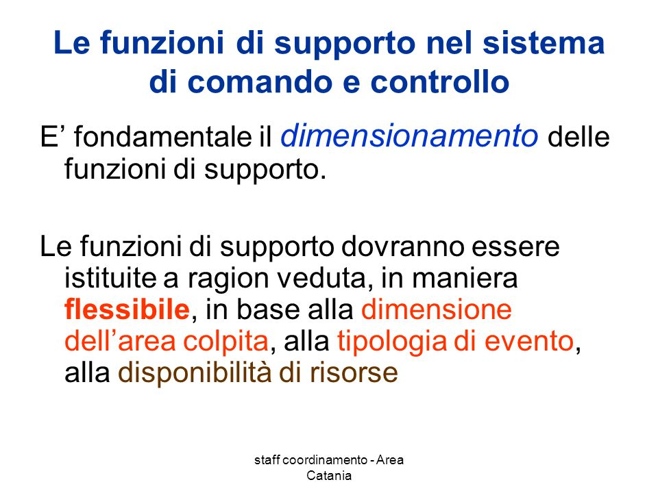 Le funzioni di supporto nel sistema di comando e controllo