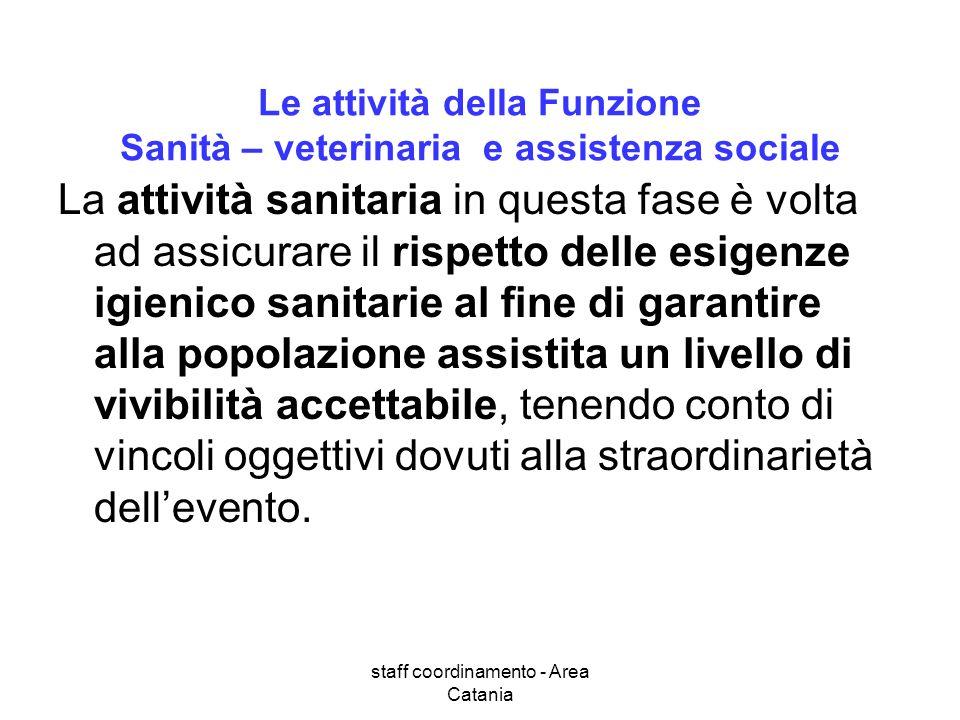 Le attività della Funzione Sanità – veterinaria e assistenza sociale