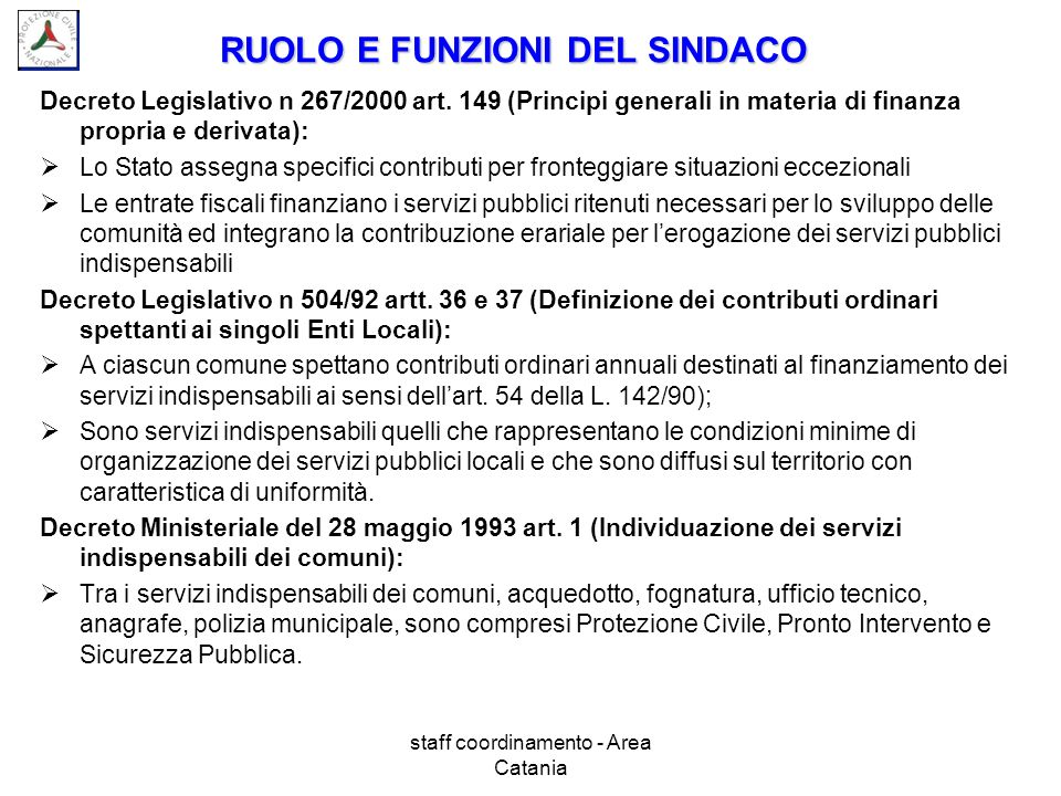 RUOLO E FUNZIONI DEL SINDACO