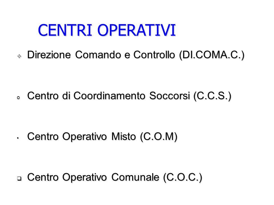CENTRI OPERATIVI Direzione Comando e Controllo (DI.COMA.C.)