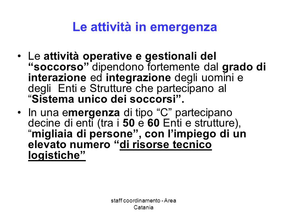 Le attività in emergenza