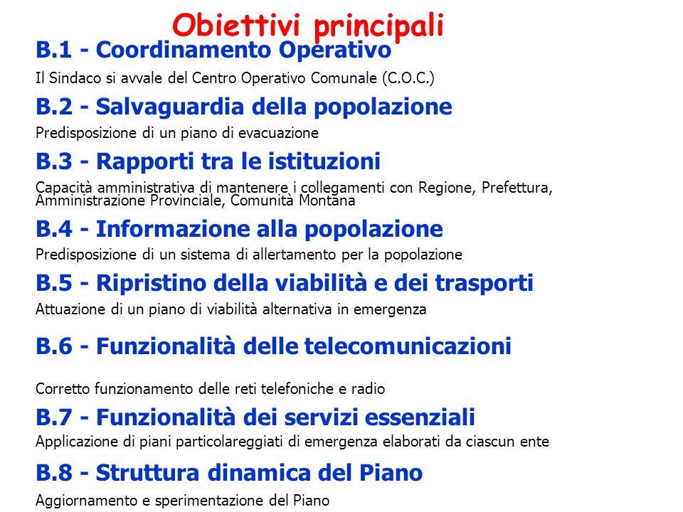 Obiettivi principali B.1 - Coordinamento Operativo