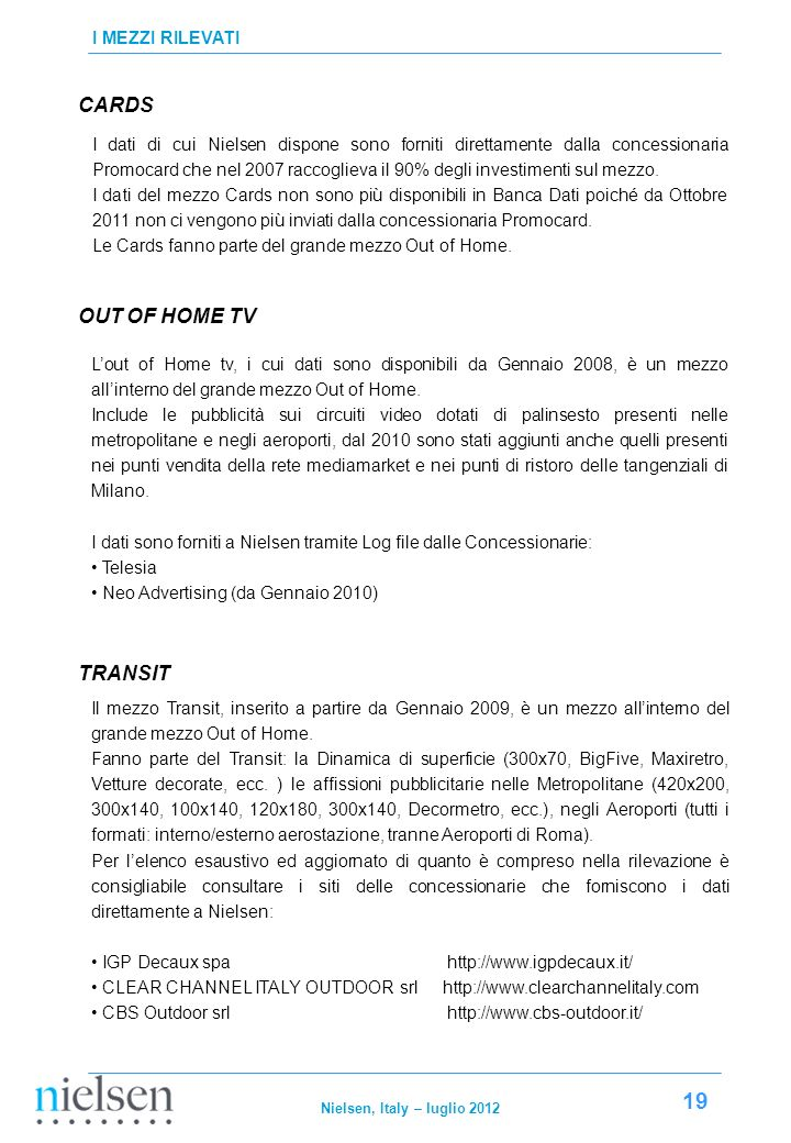 CARDS OUT OF HOME TV TRANSIT I MEZZI RILEVATI