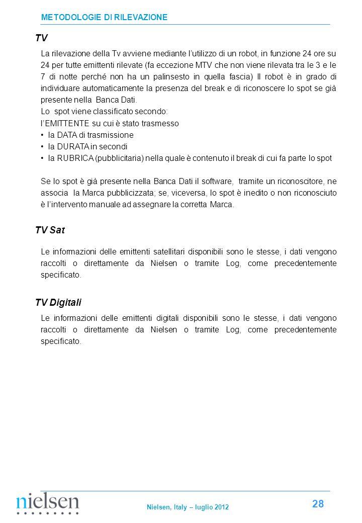 TV TV Sat TV Digitali METODOLOGIE DI RILEVAZIONE