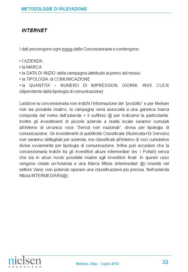 INTERNET METODOLOGIE DI RILEVAZIONE