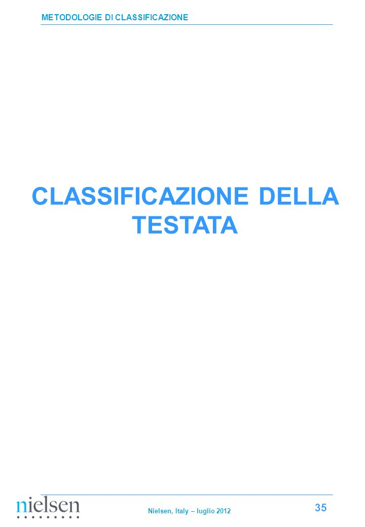 CLASSIFICAZIONE DELLA TESTATA