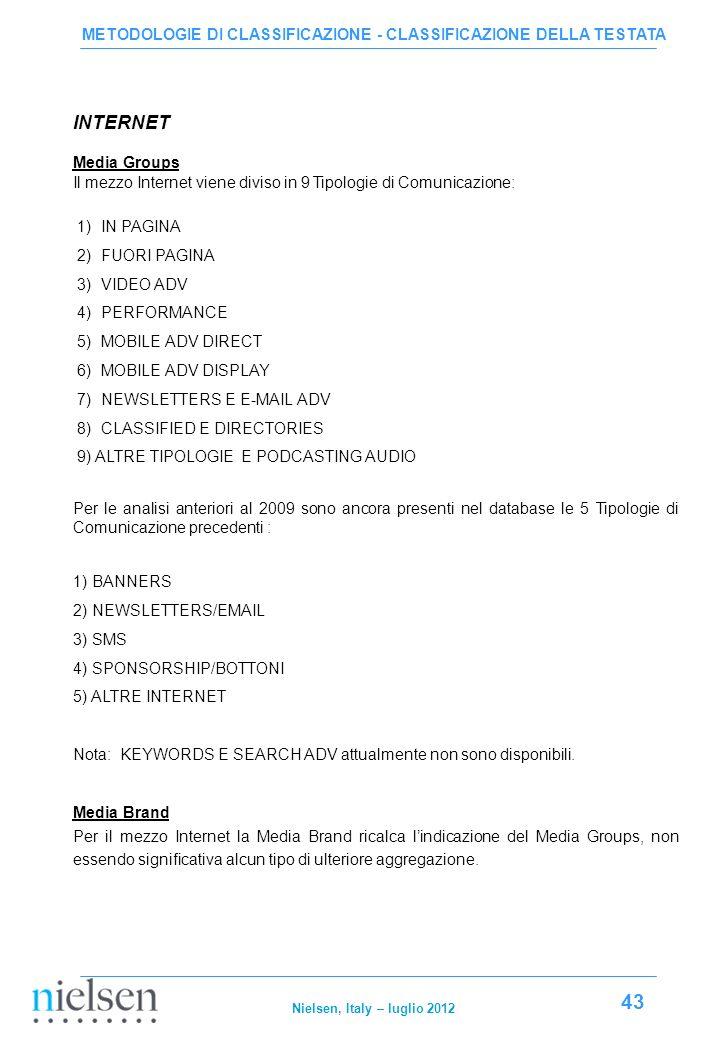 METODOLOGIE DI CLASSIFICAZIONE - CLASSIFICAZIONE DELLA TESTATA