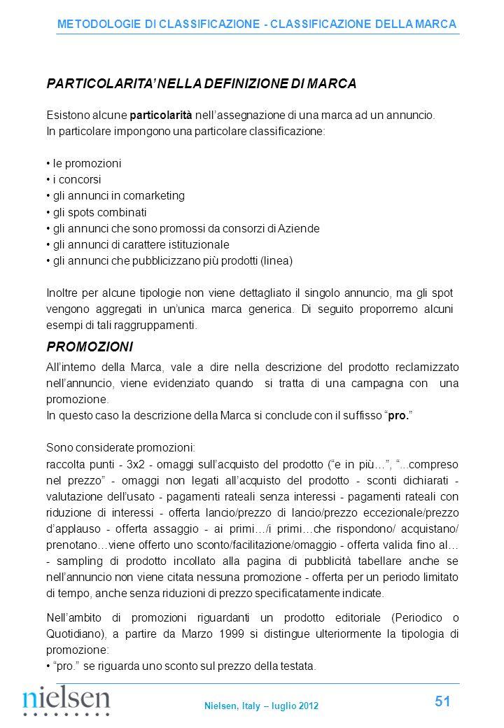 PARTICOLARITA' NELLA DEFINIZIONE DI MARCA