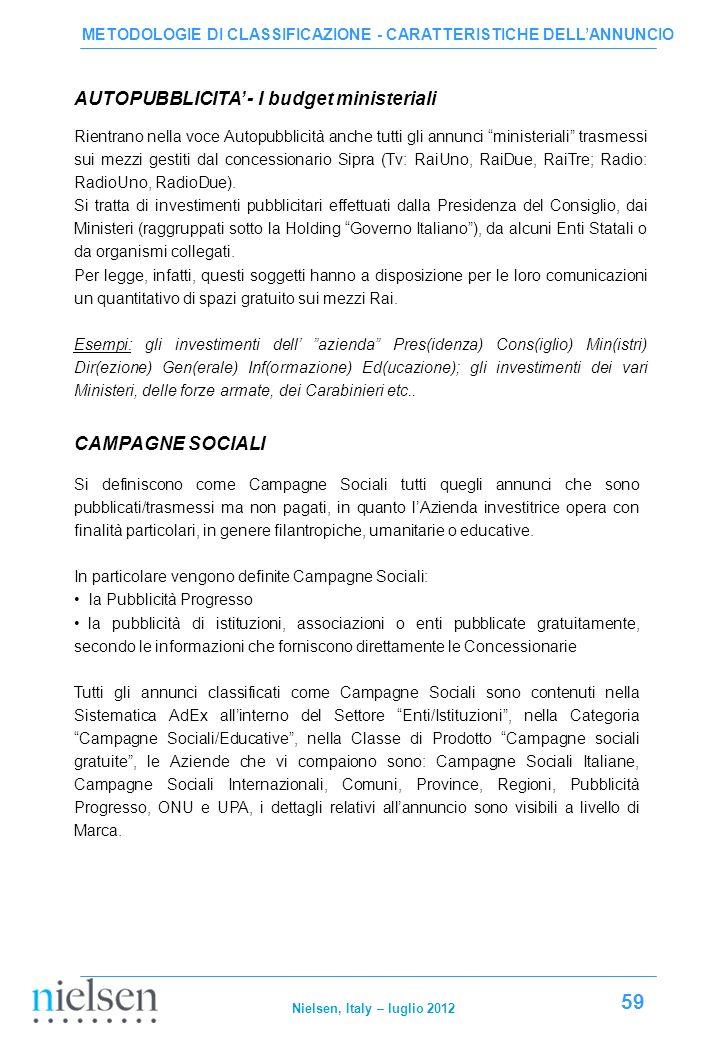 AUTOPUBBLICITA' - I budget ministeriali