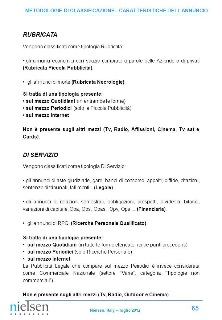 METODOLOGIE DI CLASSIFICAZIONE - CARATTERISTICHE DELL'ANNUNCIO