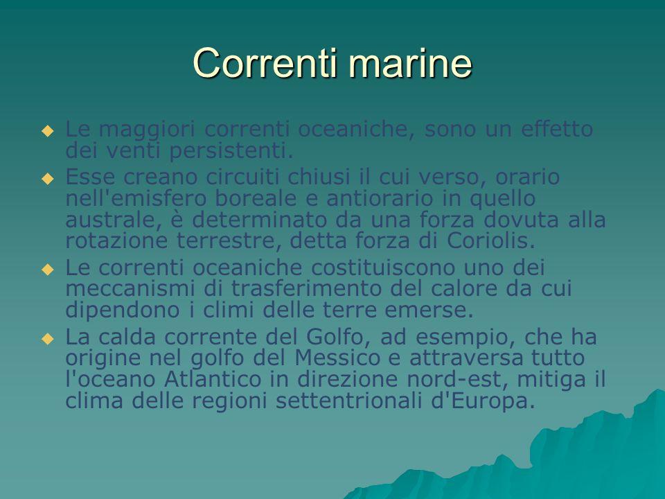 Correnti marine Le maggiori correnti oceaniche, sono un effetto dei venti persistenti.
