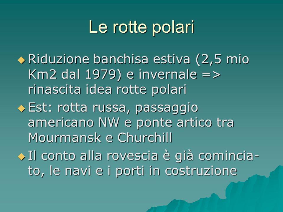 Le rotte polari Riduzione banchisa estiva (2,5 mio Km2 dal 1979) e invernale => rinascita idea rotte polari.