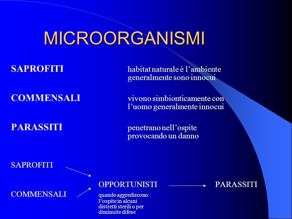 MICROORGANISMI SAPROFITI habitat naturale è l'ambiente generalmente sono innocui.