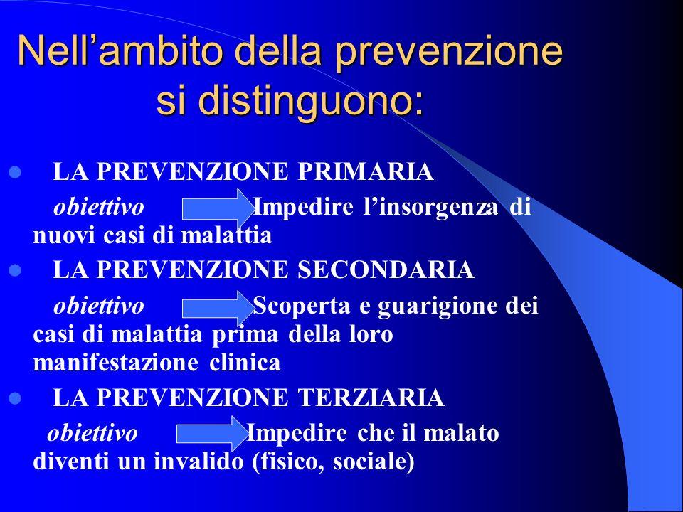 Nell'ambito della prevenzione si distinguono: