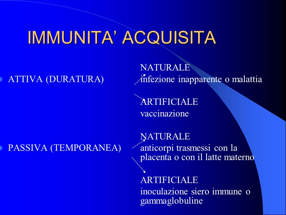 IMMUNITA' ACQUISITA NATURALE