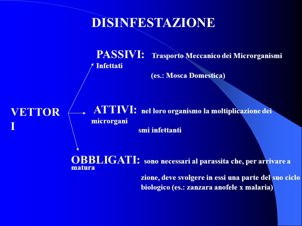 DISINFESTAZIONE PASSIVI: Trasporto Meccanico dei Microrganismi Infettati. (es.: Mosca Domestica)