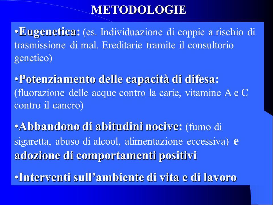 METODOLOGIE Eugenetica: (es. Individuazione di coppie a rischio di trasmissione di mal. Ereditarie tramite il consultorio genetico)