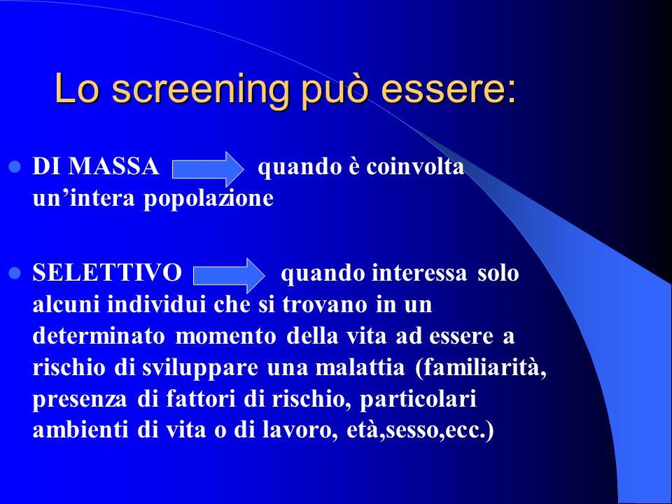 Lo screening può essere: