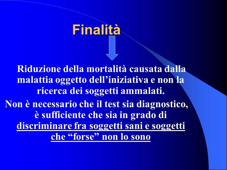 Finalità Riduzione della mortalità causata dalla malattia oggetto dell'iniziativa e non la ricerca dei soggetti ammalati.