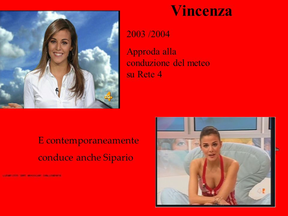 Vincenza 2003 /2004 Approda alla conduzione del meteo su Rete 4