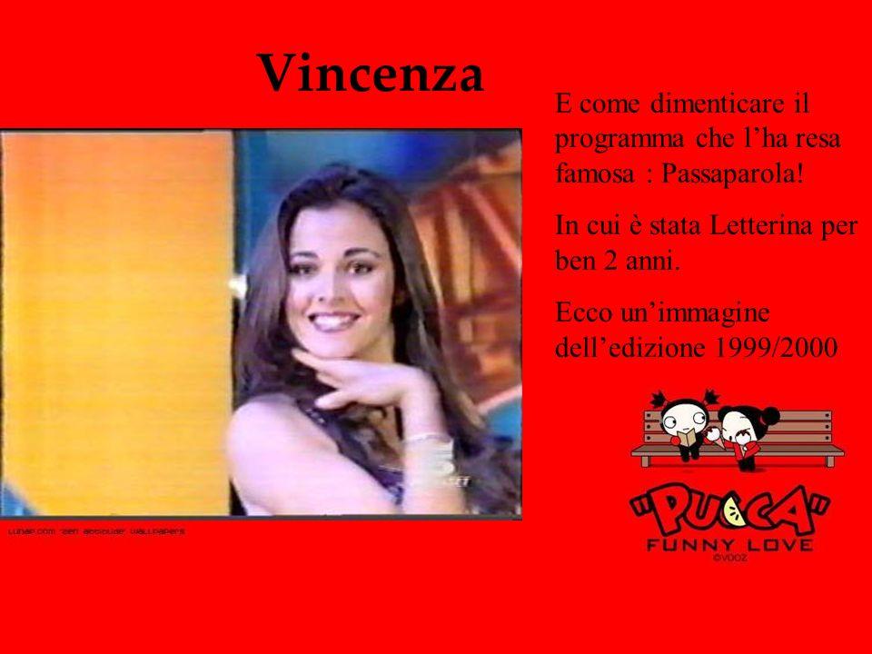 Vincenza E come dimenticare il programma che l'ha resa famosa : Passaparola! In cui è stata Letterina per ben 2 anni.