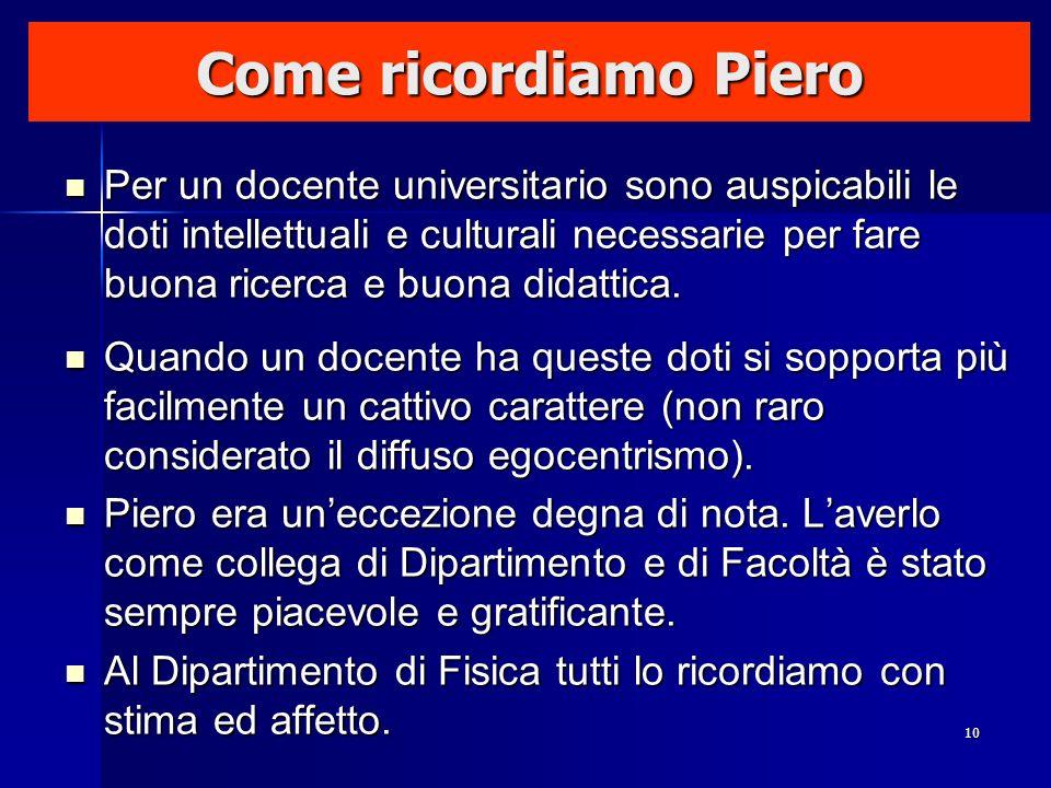 Come ricordiamo Piero