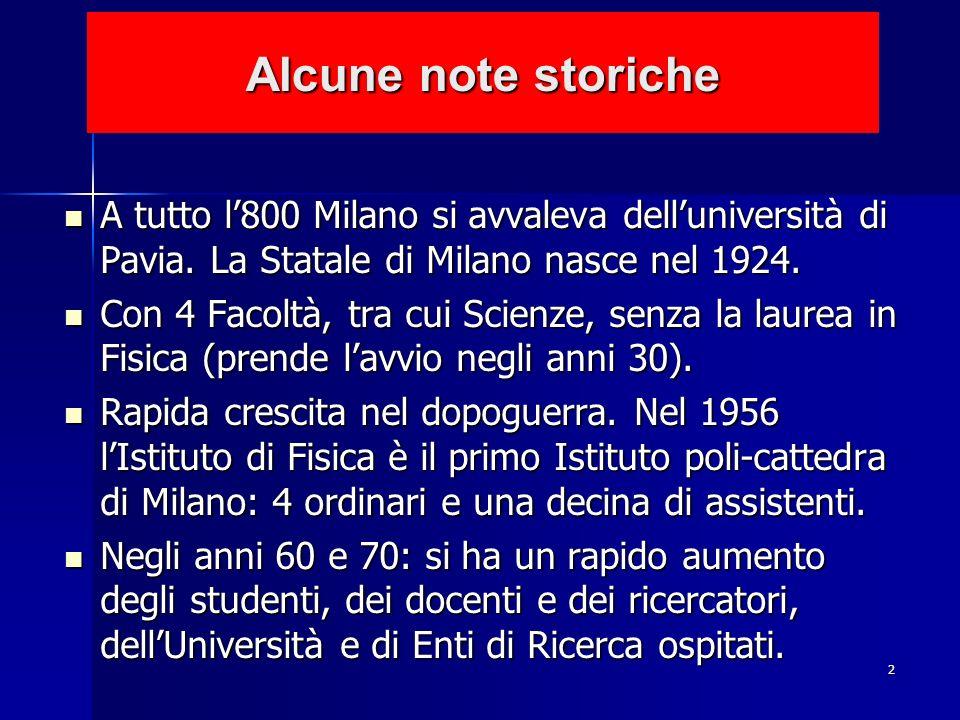 Alcune note storiche A tutto l'800 Milano si avvaleva dell'università di Pavia. La Statale di Milano nasce nel 1924.