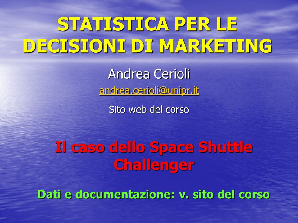 STATISTICA PER LE DECISIONI DI MARKETING
