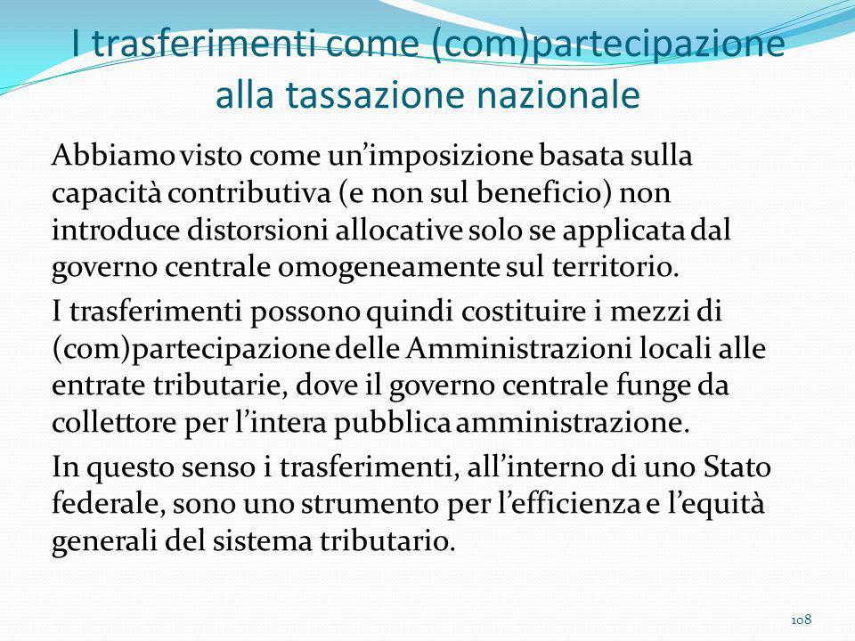 I trasferimenti come (com)partecipazione alla tassazione nazionale