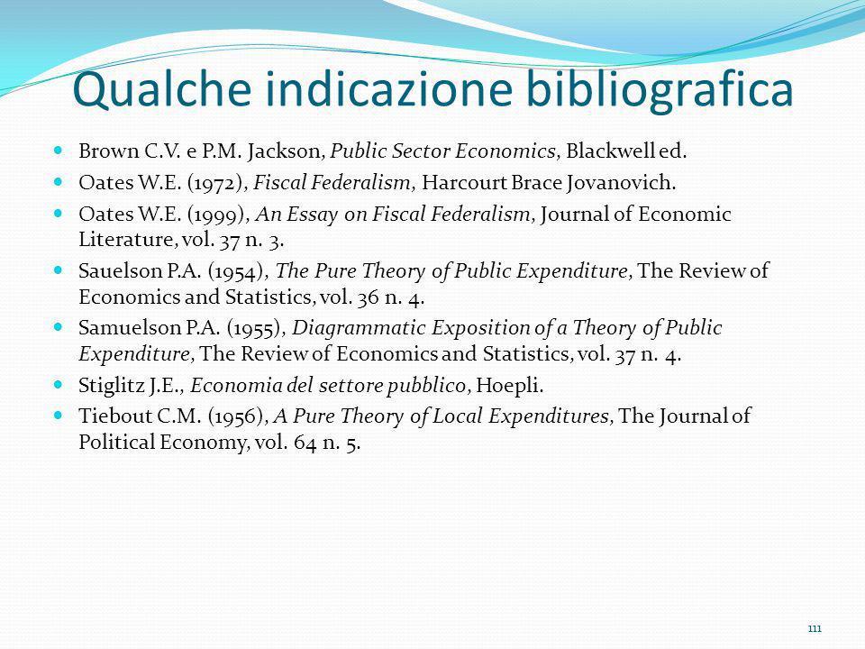 Qualche indicazione bibliografica